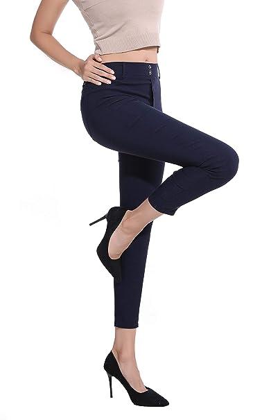 Dreamsy Leggings Pitillo para Mujer Pantalones de Yoga Deportivos Pantalones de Cintura Alta con Bolsillos Vaqueros elásticos Jeggings