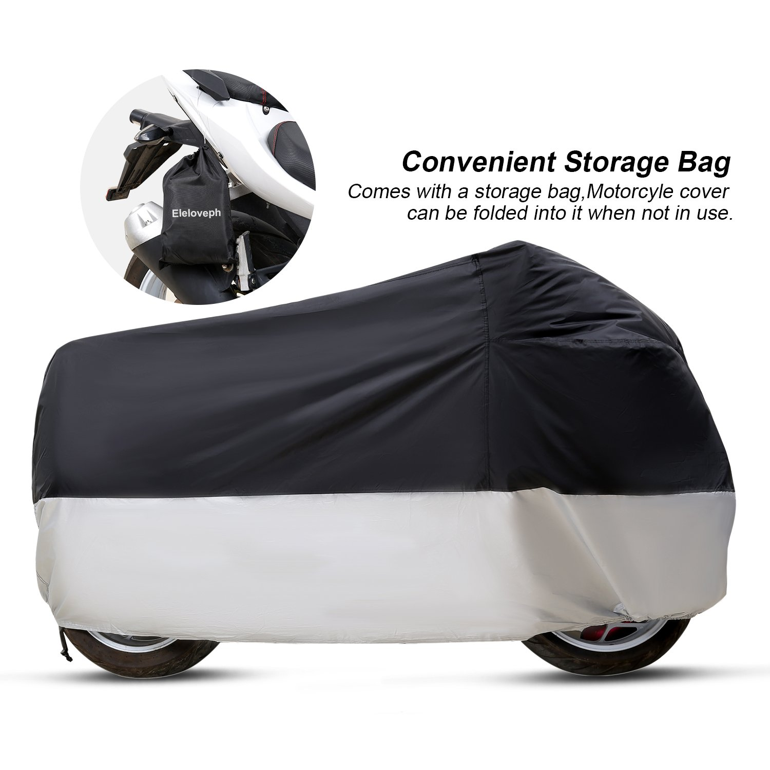 Eleloveph Motorcycle Cover - All Season Waterproof Outdoor Protection - Precision Fit for Tour Bikes, Choppers and Cruisers Protect Against Dust,Rain,Snow and Sun (XXXXL-116''x43''x55'', Black&Sliver) by Eleloveph (Image #5)