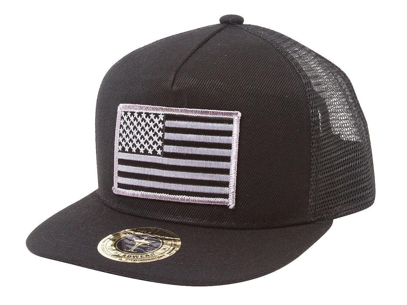Amazon.com  TOP HEADWEAR USA Flag Flat Bill Trucker Mesh Snapback Hat -  Black  Clothing 63348868b54