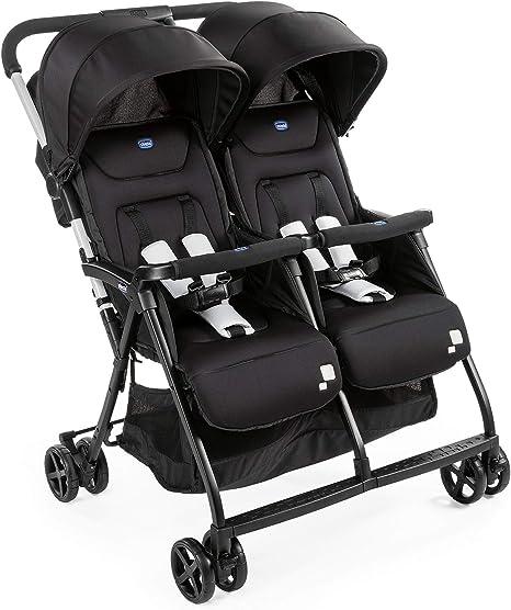 gemelos mellizos o hermanos Black Night Chicco OHlala Twin Silla de paseo gemelar muy ligera y compacta solo 8 kg color negro