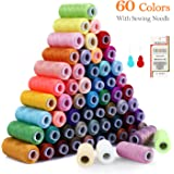 Sewing Thread Polyester Thread Kit 60 Colors(Total 15000 Yards) Length Spool with 2 Needle Threaders and 16 Needles for…