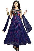 MRS WOMEN Blue Cotton Georgette Women's Dress Material (MRS-SWEG-348_Free Size)