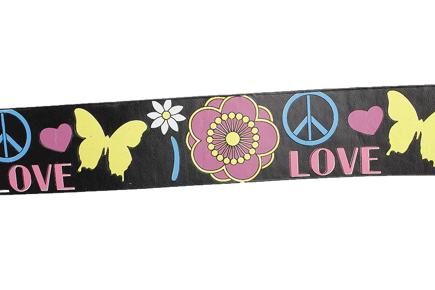 Unisex 105cm Peace and Love Print PU Belt