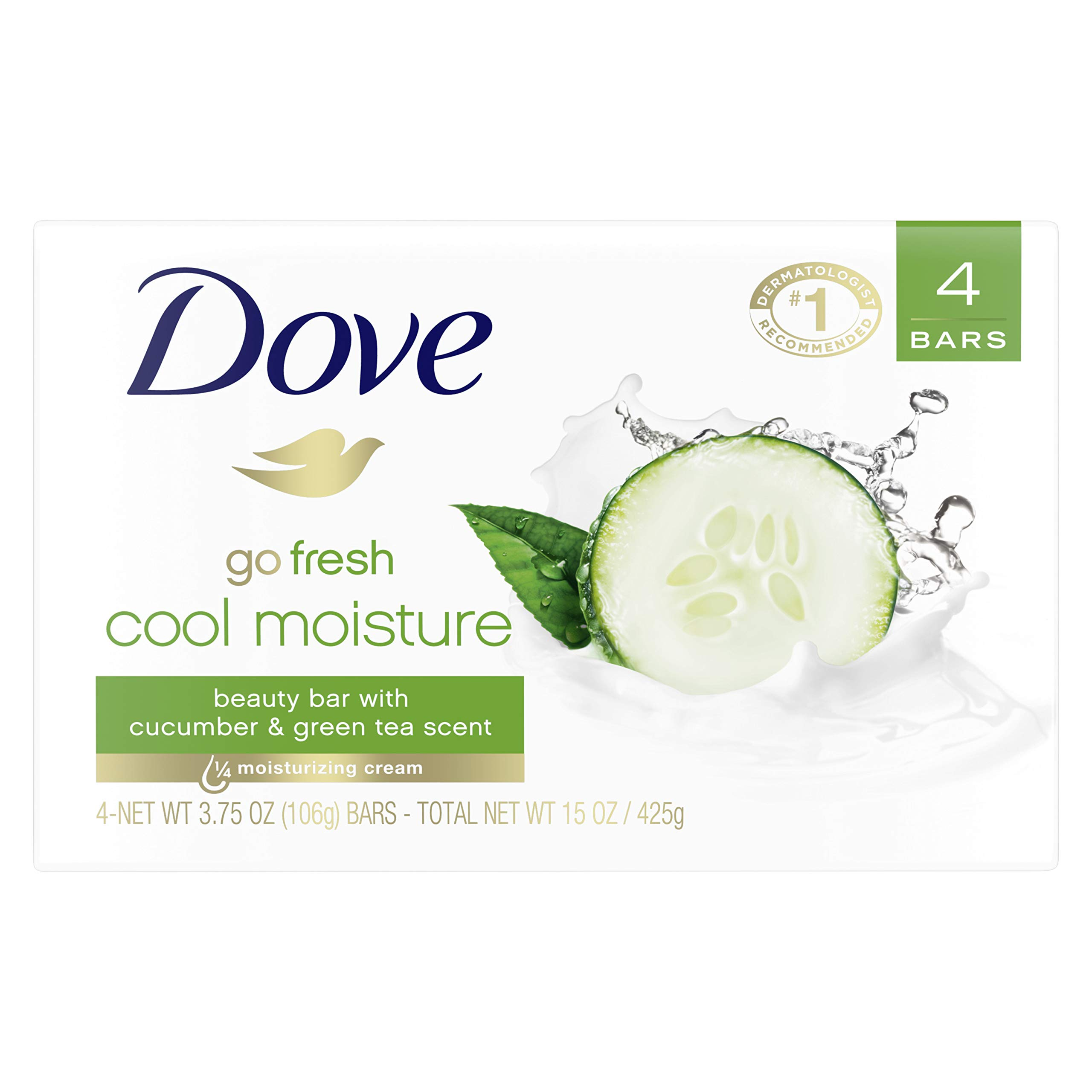 Dove go fresh Beauty Bar Cucumber and Green Tea 3.75 oz 4 Bars