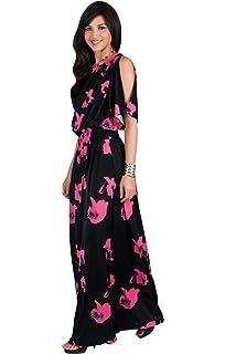 e12cbcf77c4 KOH KOH Womens Long Short Sleeve Printed Summer Sexy Casual Sundress Maxi  Dress
