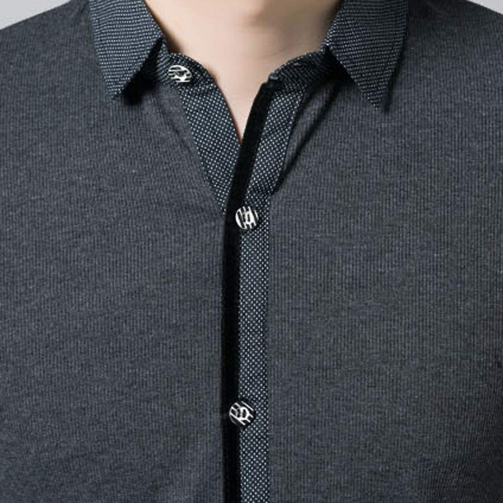 wuliLINL Mens Spring New Casual Fashion Business Turn-Collar Patchwork Button T-Shirt Tops Blouse