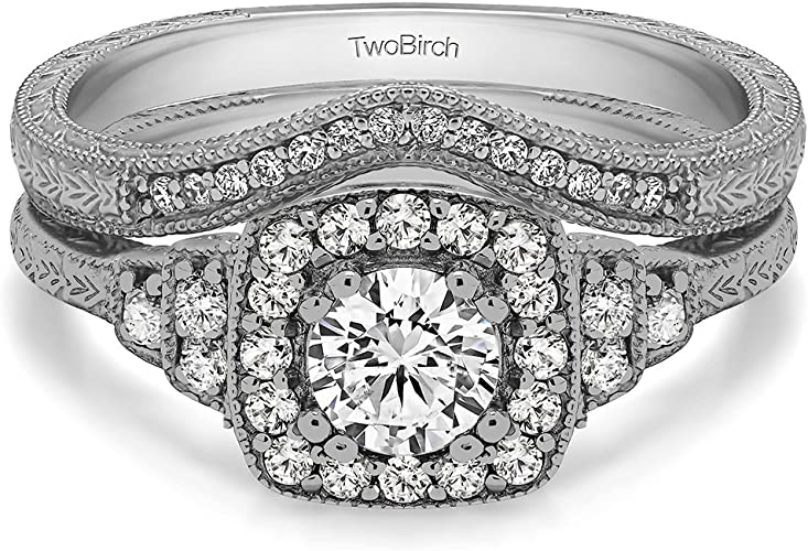 Amazon Com Twobirch 2 Piece Bridal Set Engagement Ring And