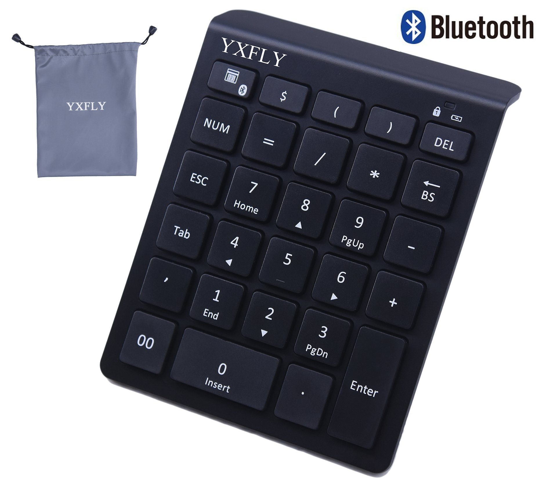 YXFLY Ultra Slim 28 Keys Bluetooth Numeric Keypad, Bluetooth 3.0 Number Pad Scissor-Switch Keypad for Surface Pro Laptop Tablet