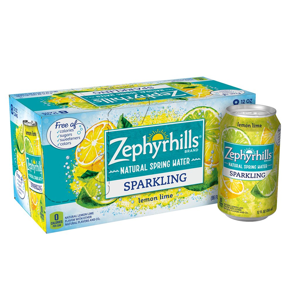 Zephyrhills Sparkling Water, Lemon Lime, 12 oz. Cans (Pack of 8)