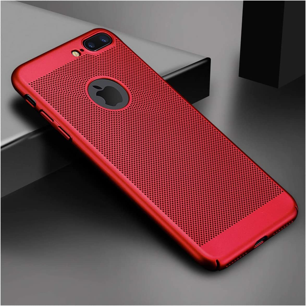 New Ultra Slim Phone Case Compatible for iPhone 6 6s 7 8 Plus Hollow Heat Dissipation Case Hard PC Compatible for iPhone 5 S SE 11 Pro Cover Coque X S MAX,Compatible for iPhone 8,Red