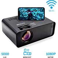 Proyector Portátil, WiFi Proyector Portátil Full HD 1080P Projector Multimedia Home Video Projector para Android/iOS Compatible con HDMI, VGA, USB, AV, Tarjeta TF Ideal para Home Cinema Laptop Teléfono Game
