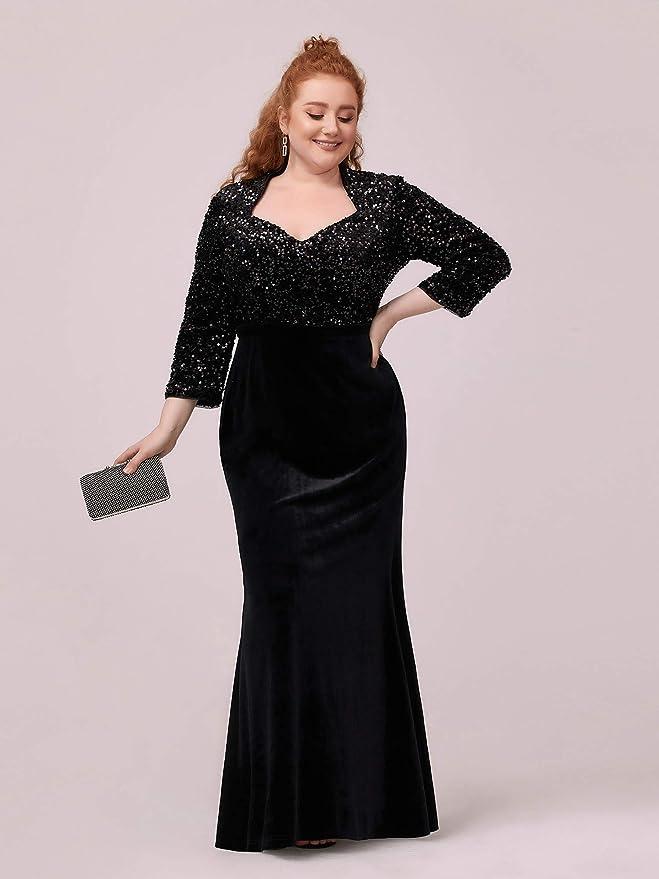 70s Dresses – Disco Dress, Hippie Dress, Wrap Dress Ever-Pretty Womens Plus Size Long Sleeve Sequin and Velvet Formal Dress 0379-PZ $39.99 AT vintagedancer.com