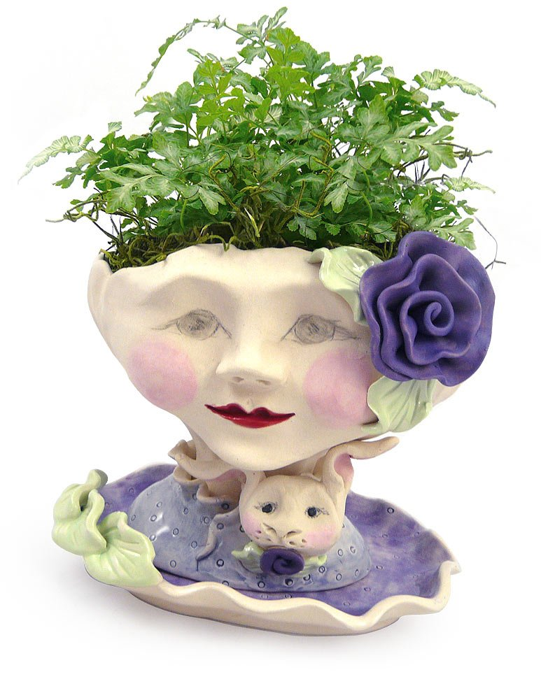 Victorian Lovelies Sculpted Indoor Head Planter: Bunny Rose Version by Modern Artisans
