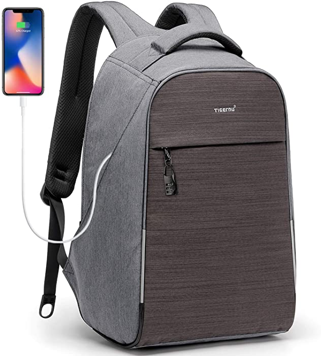 KUPRINE Anti-Theft Laptop Backpack with Lock and USB Charging Port, TSA Friendly Business Travel Backpacks Gifts for Men and Women, Lightweight School Bookbag Fits 15.6 Inches Laptop, Grey
