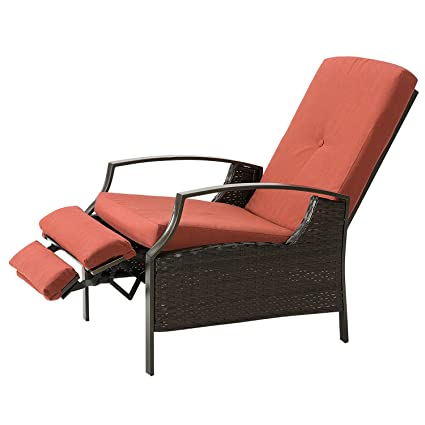 Marble Field Patio Wicker Adjustable Recliner Chair, Relaxing Lounge Chair  With Thick Spunpoly Cushion,