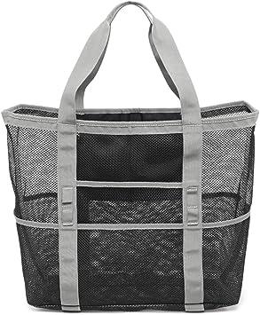 Beach Bag Grey F-color Mesh Beach Bag Oversized Beach Tote 8 Pockets Beach Toy Bag Lightweight Beach Tote Bag for Women Picnic Travel