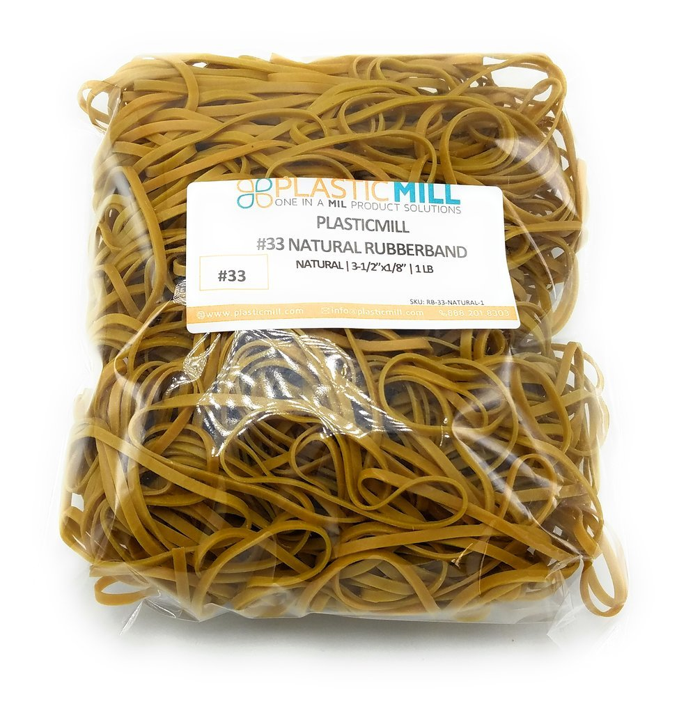PlasticMill Rubber Bands - #33 Size - Natural Rubberbands - 1LB/500 Count.