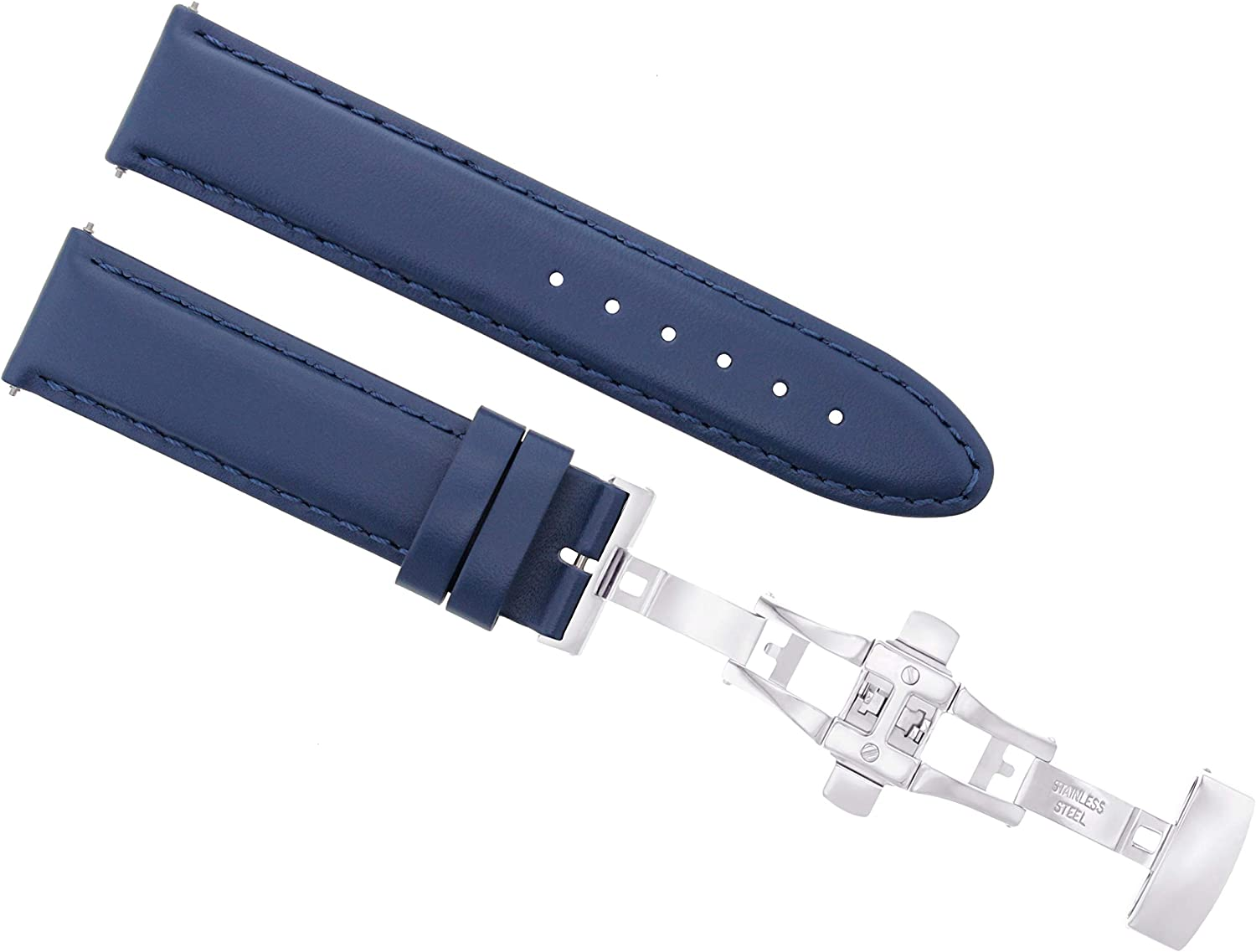 18-19-20-22-24MM Smooth Leather Watch Band Strap Clasp for Corum Admiral Cup Blue #2