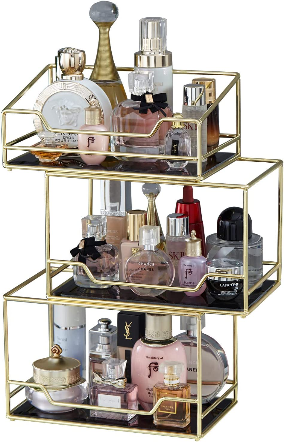 Amazon Com Spacious 3layer Stackable Glass Perfume Tray 3 Tirer Gold Black Mirror Metal Bathroom Tray For Makeup Jewelry Organizer Ornate Decorative Tray For Vanity Desser Countertop Kitchen Home Kitchen