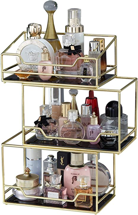Spacious 3layer Stackable Glass Perfume Tray 3 Tirer Gold Black Mirror Metal Bathroom Tray For Makeup Jewelry Organizer Ornate Decorative Tray For Vanity Desser Countertop Kitchen Amazon Ca Home Kitchen
