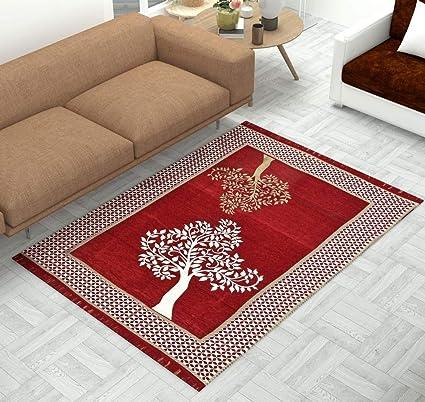 Magnetic Shadow Velvet Touch Chenille Carpet for Living Room Dining Hall Floor Mats , Maroon Eye