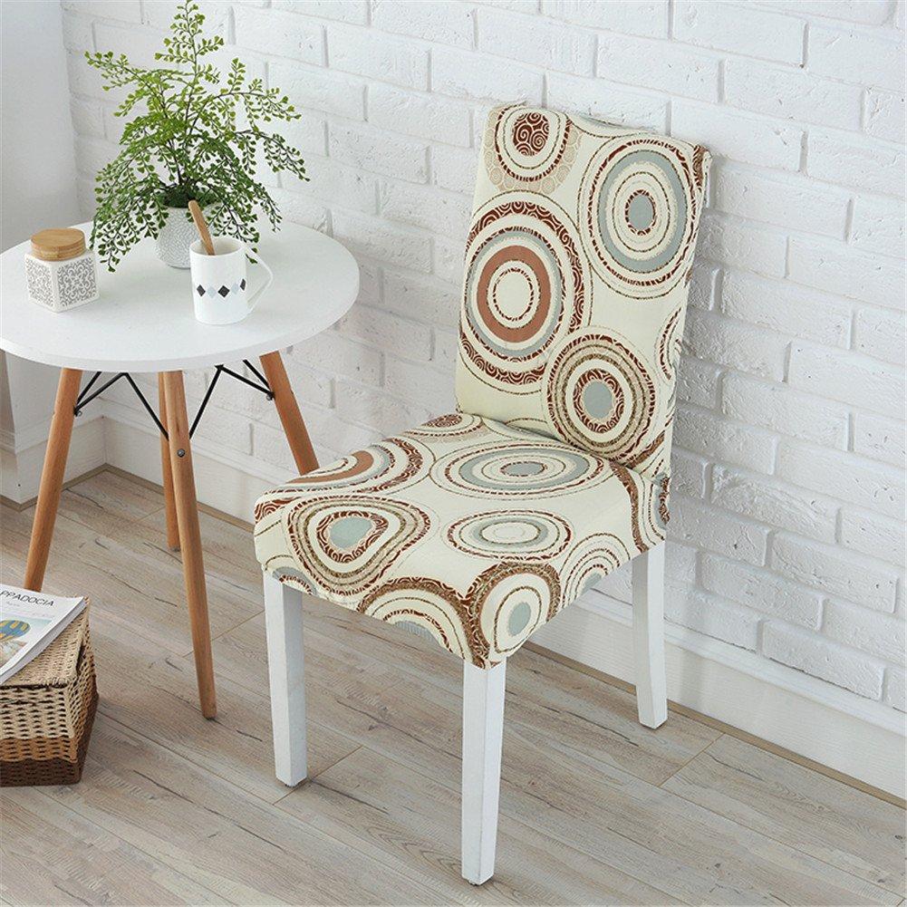 WXYSHOME Fabric Magic Circle chair slipcovers removable stretch elastic protector covers for dining room hotel banquet ceremony party set of 4