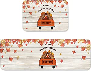 Possta Decor Kitchen Mats 2 Piece Non Slip Area Runner Rug Set, Super Soft Comfort Standing Mat Autumn Thanksgiving Turkey Farm Truck Floor Doormat Washable Carpet Rustic Wood