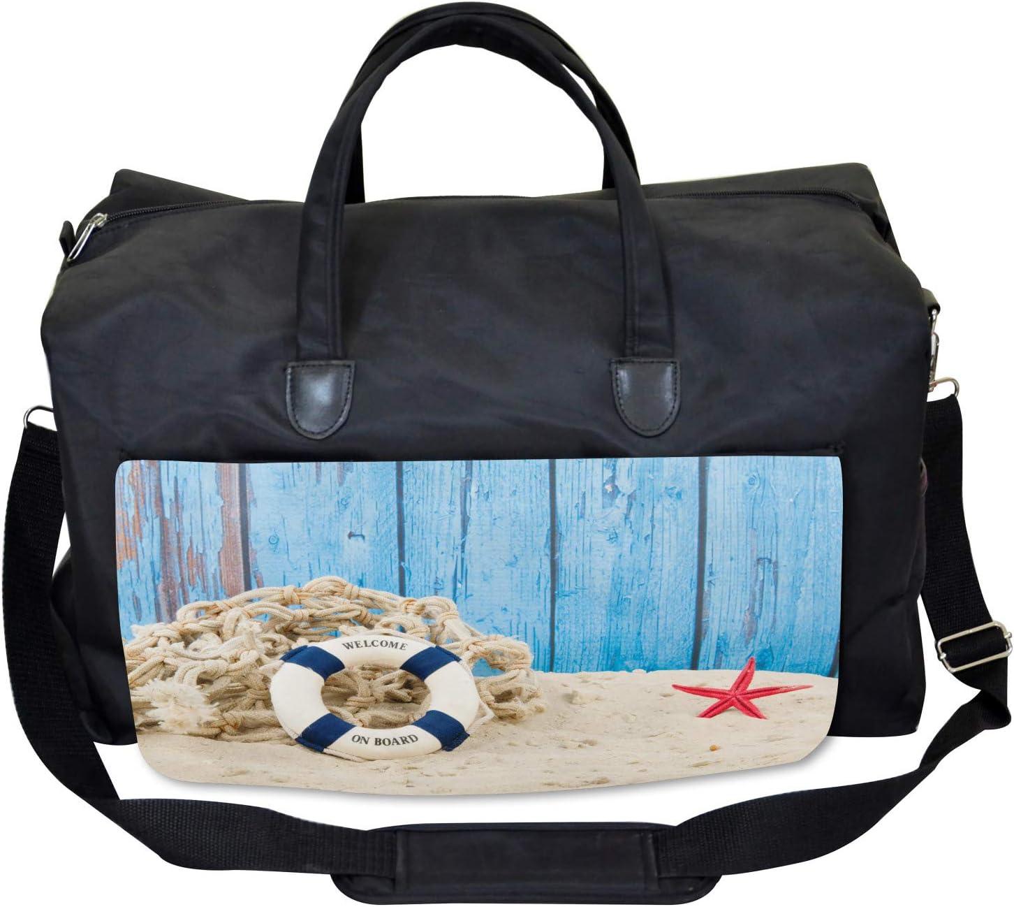 Beach Coastline Welcome Ambesonne Vintage Gym Bag Large Weekender Carry-on