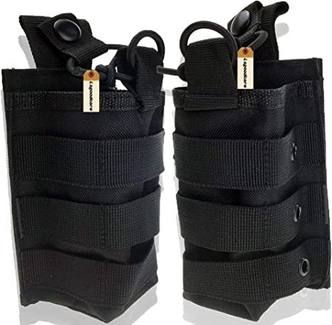 Lsgoodcare 1000D Nylon Military Molle Radio Case Compatible for Baofeng Motorola Midland Cb Walkie Talkies Pack of 2 Tactical Radio Holster Pouch Holder