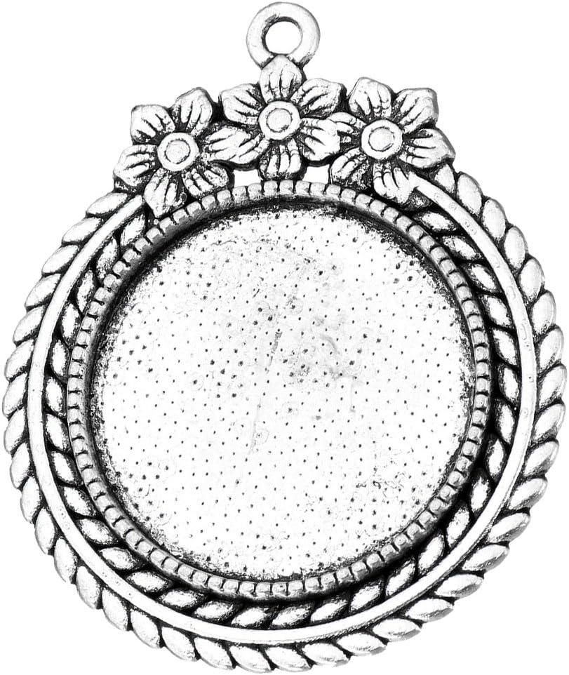 Perlin M471-4 portalámparas con Motivos Florales, Colgante de Metal Plateado para cabujón Redondo de 25 mm