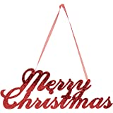 Creative Converting Merry Christmas Glitter Sign with Ribbon Hanger, Red