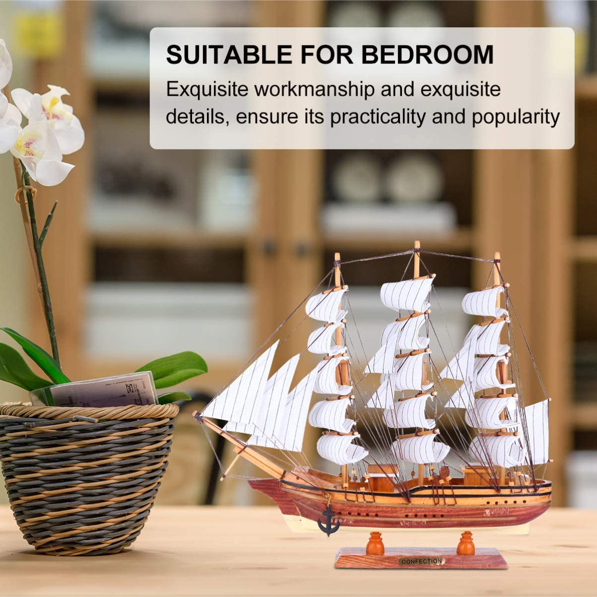 WINOMO Sailing Boat Model Wooden Sailing Ship Model Decor Handmade Vintage Nautical Sail Ship Tabletop Ornament Photo Props for Home Decor