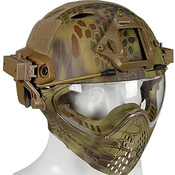 DETECH - Casco Airsoft FAST con máscara de gafas para el ejército militar, juego de