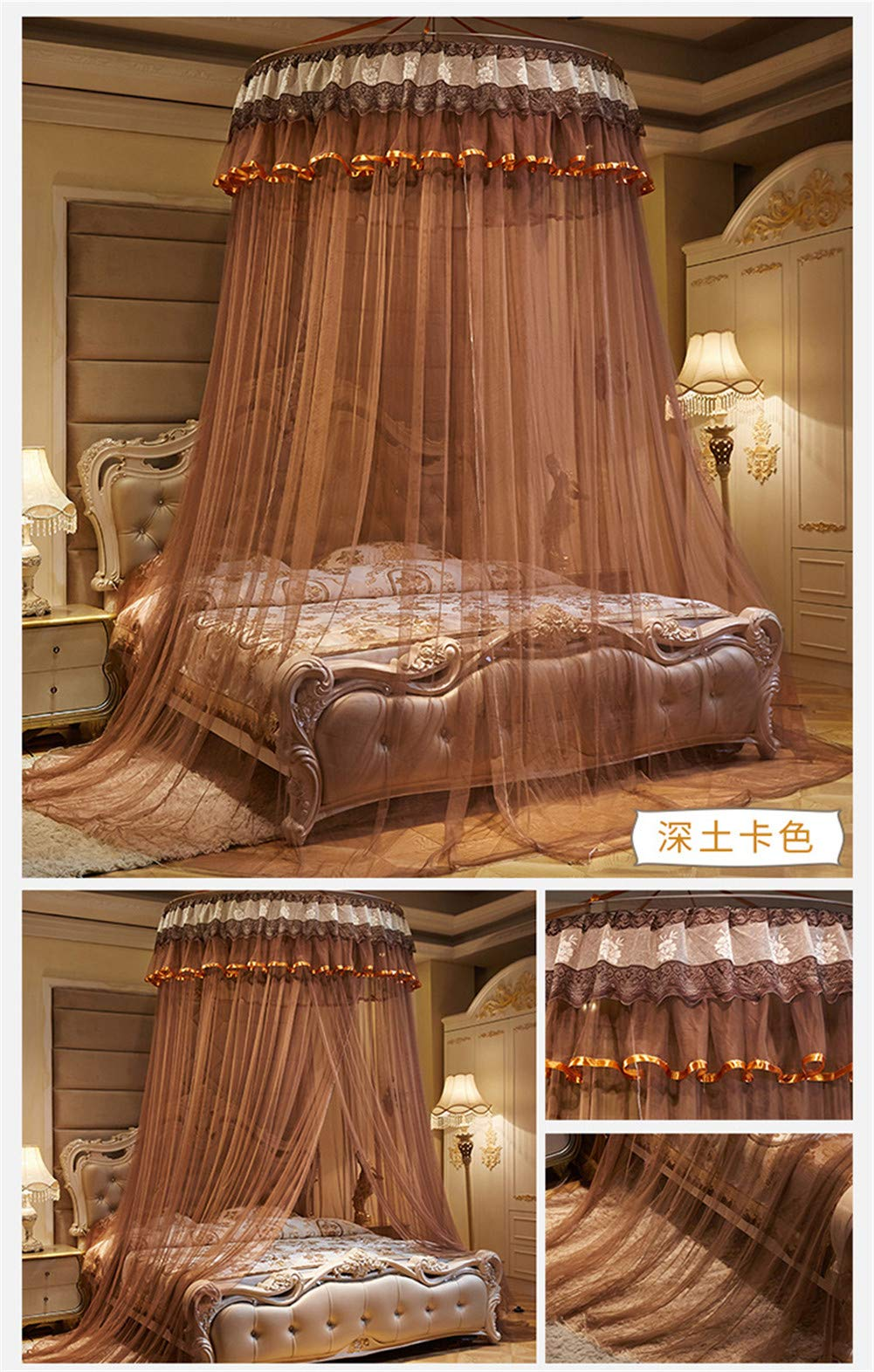 XDWN Mosquito Net Round Lace Dome Bed Canopy Netting Princess Fashion for King Queen Double Twin Size Bed,Brown by XDWN (Image #3)
