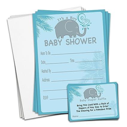 amazon com braindango 25 pack blue boy elephant baby shower
