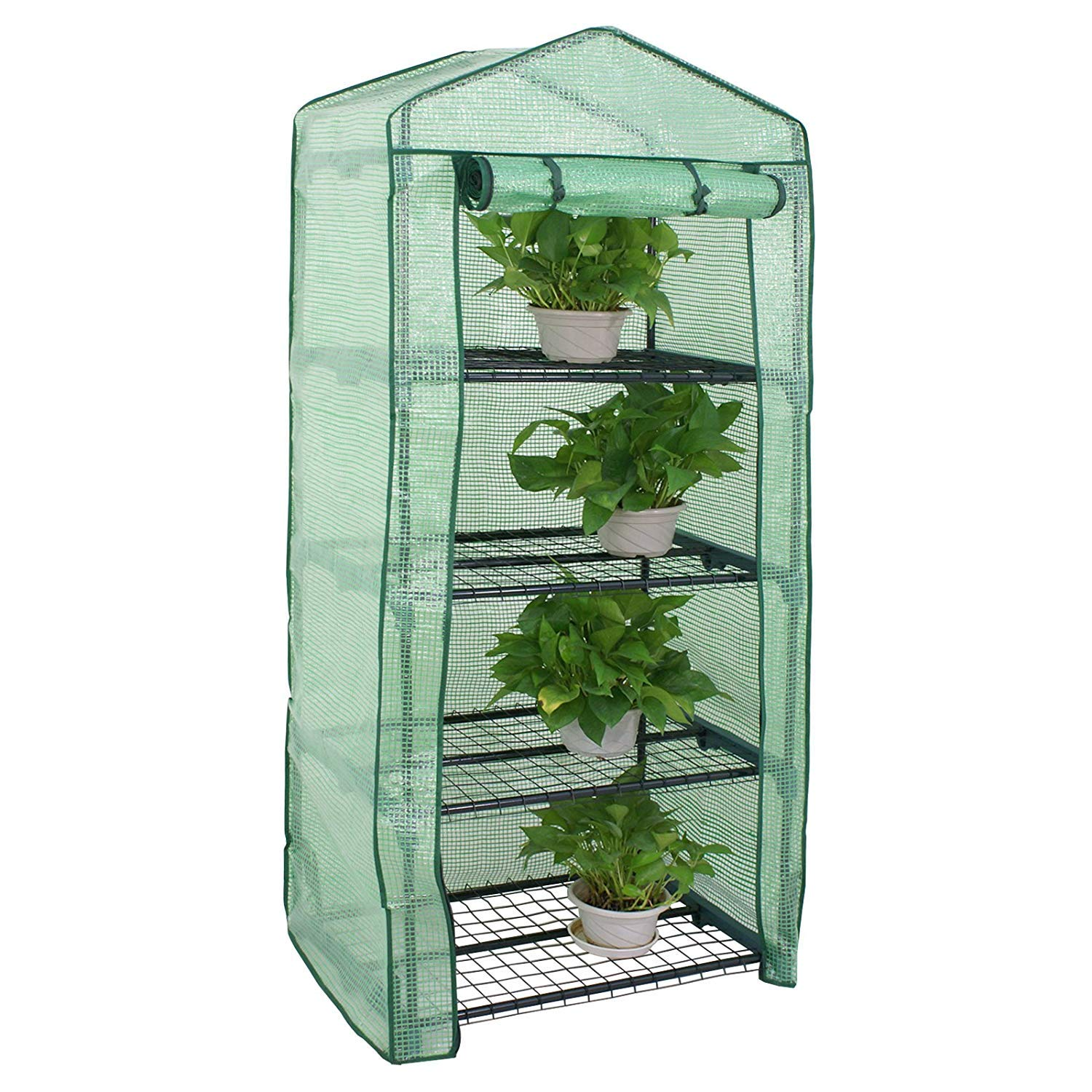 HomGarden 4-Tier Mini Greenhouse Portable Plant Shelf Green House Tent for Lawn Patio Garden w/PE Cover and Roll-Up Zipper Door, 27.25'' L X 19'' W x 63'' H