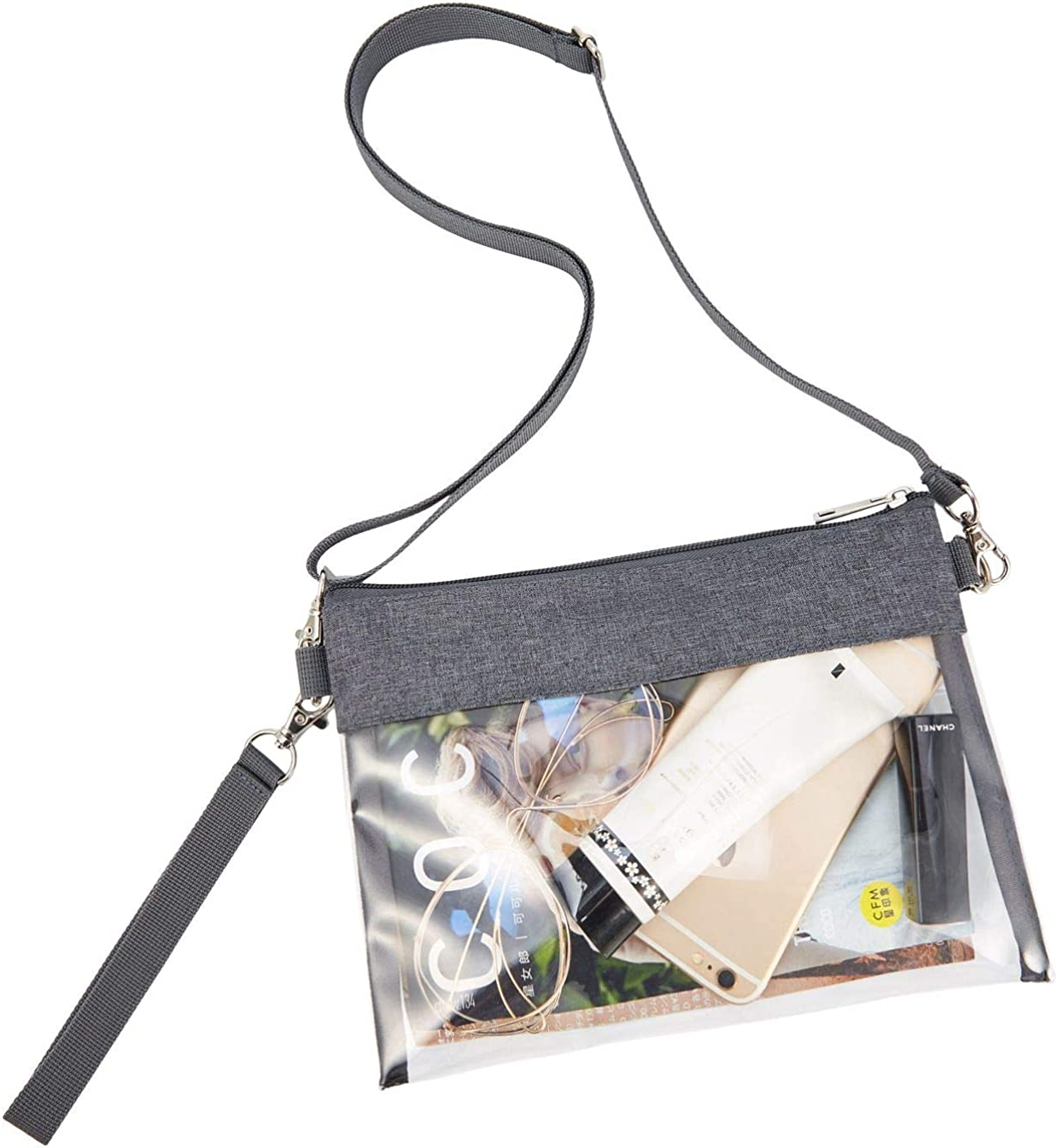 GreenPine Clear Crossbody Purse Bag - NFL,NCAA Stadium Approved Clear Tote Bag with Adjustable Shoulder Strap (Grey)