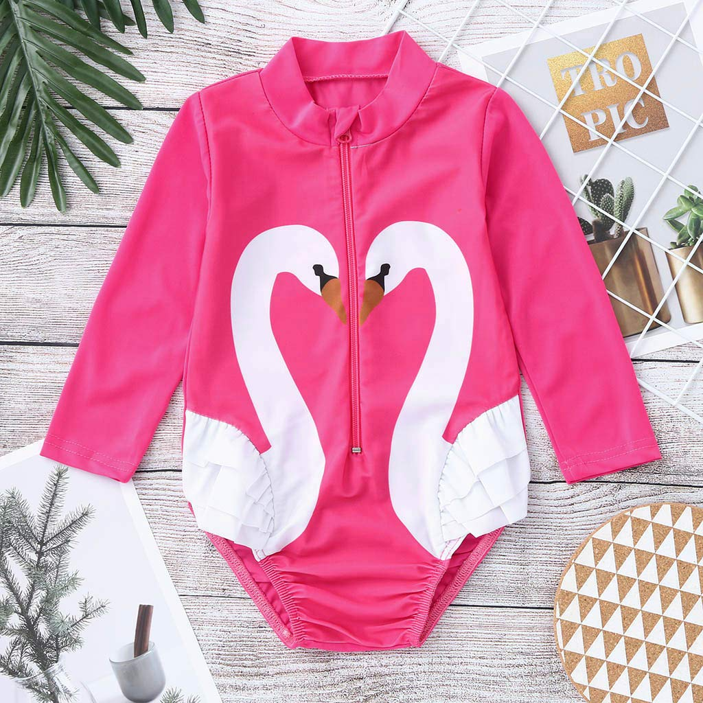 DWQuee Little Girls Swimwear Long Sleeve One Piece Sun Protection Swimsuit 1-5 Years
