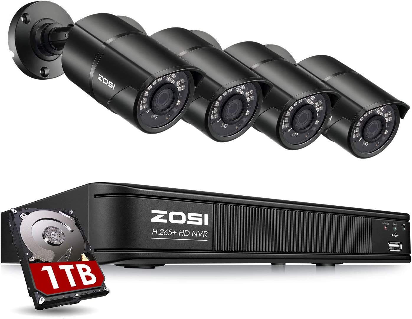 ZOSI H.265+ 5MP PoE Home Security Camera System, Ultra HD PoE NVR 8 Channel with 1TB HDD for 24/7 Recording, 4X 5MP Weatherproof IP PoE Cameras Outdoor Indoor,120ft Night Vision, Remote Access