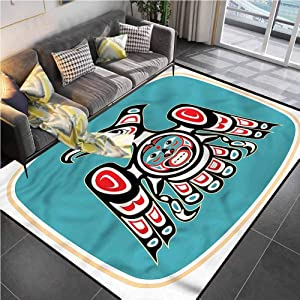 """Area Rugs Print Large Carpet Eagle,Thunderbird Native American Office Chair mat for Carpet for Living Room Bedroom Playing Room 6'6""""x10'"""