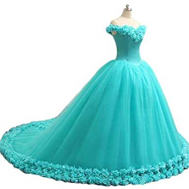 Fanciest Womens Cap Sleeve Ball Gown Quinceaneara Dresses 2017 Flowers Long Prom Gowns US2