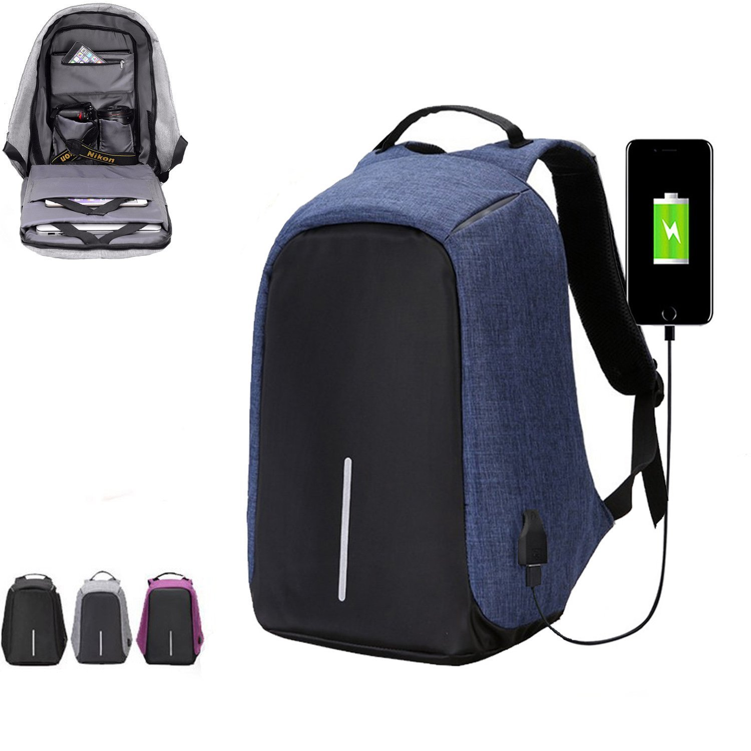 cfd6586f3eeb Chikencall Anti-theft Travel Backpack Laptop Bag with USB Charging ...
