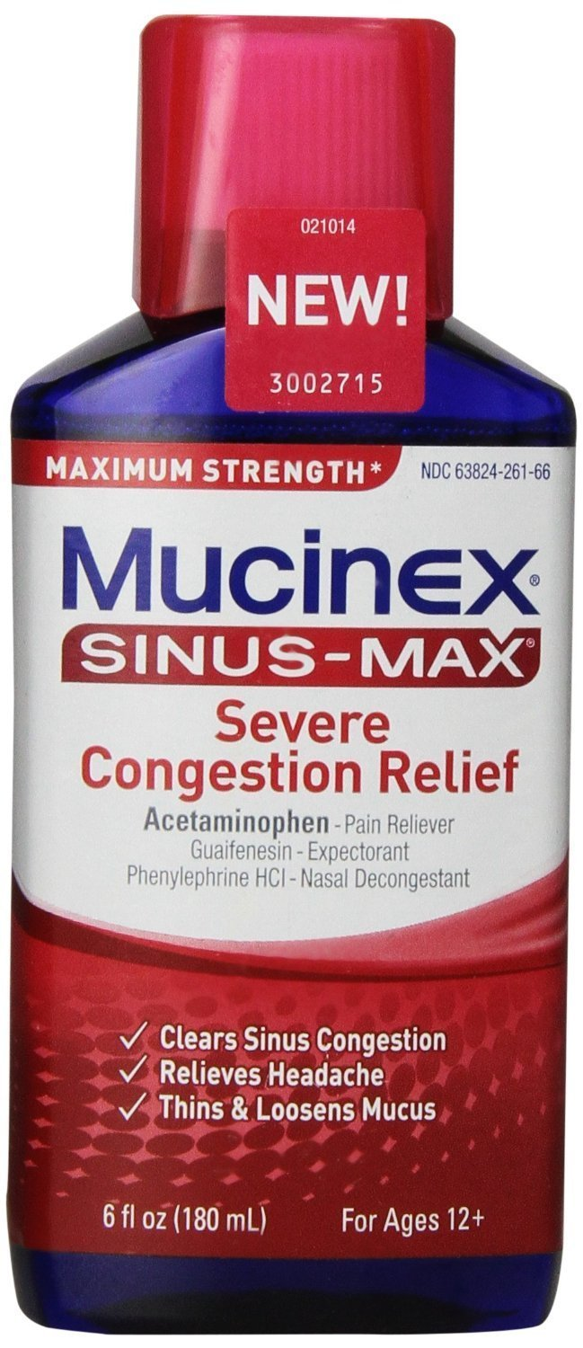 Mucinex Sinus-Max Severe Congestion Relief, 6 OZ (PACK OF 4) by Mucinex
