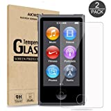 (Pack of 2) Screen Protector for iPod Nano 7th Generation / 8th Generation, Akwox 0.33mm High Definition Clear Tempered Glass Screen Protector for Apple iPod Nano 7 Generation