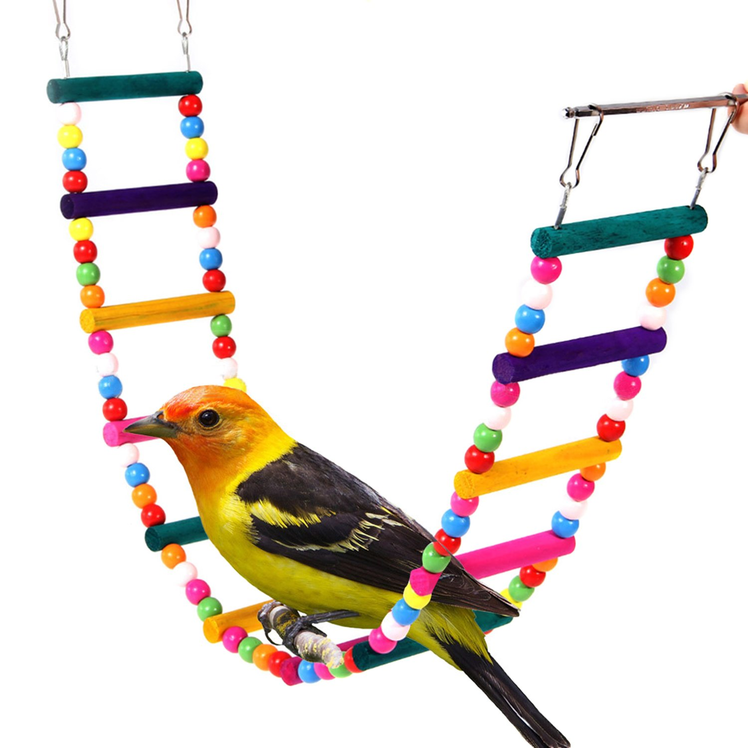 Rypet Colorful Ladder Bird Toy, Flexible Ladders Wooden Rainbow Bridge for Parrots Trainning