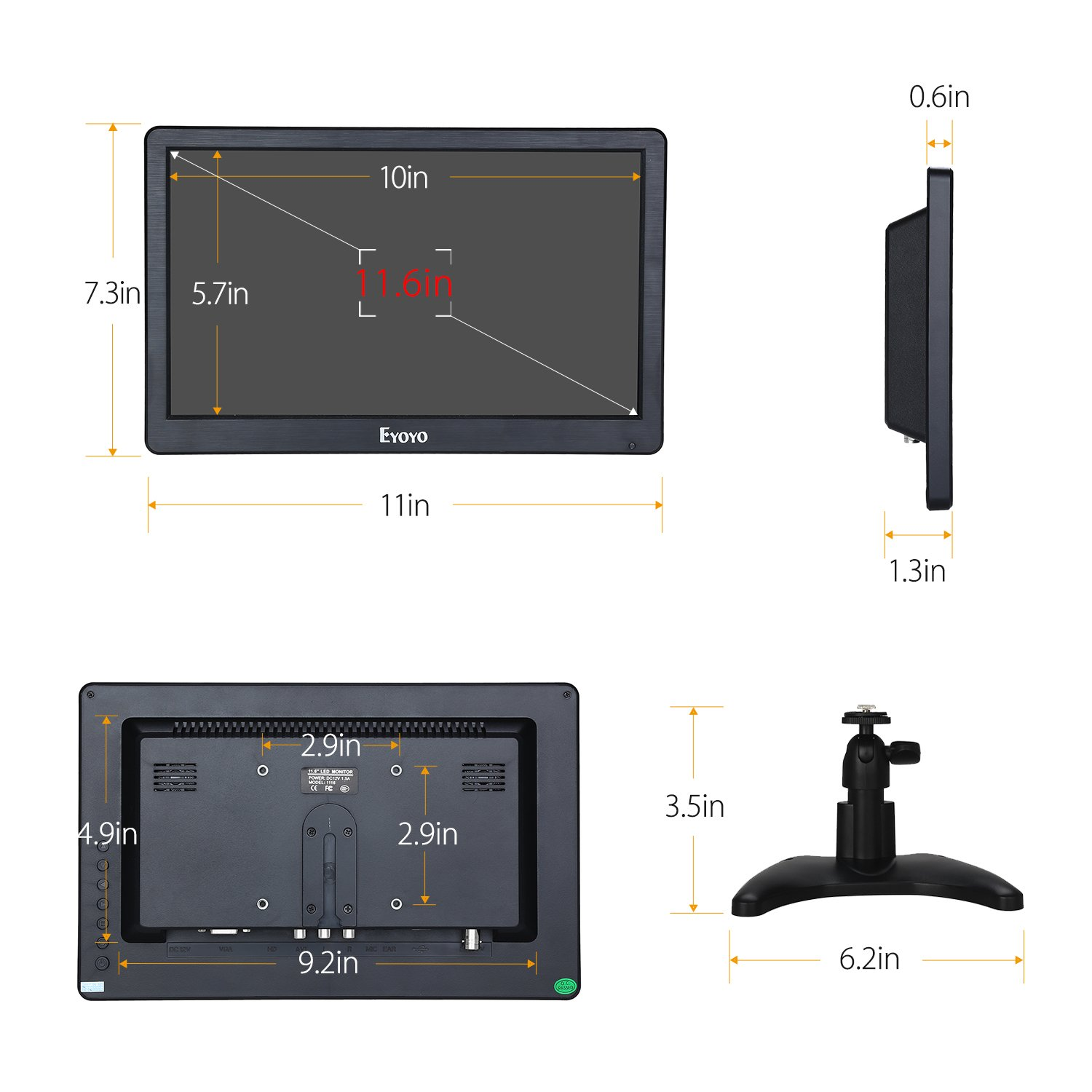 Eyoyo 12 inch HD 1920x1080 IPS LCD HDMI Monitor Screen Input Audio Video Display with BNC Cable for PC Computer Camera DVD Security CCTV DVR Home Office Surveillance by Eyoyo (Image #8)