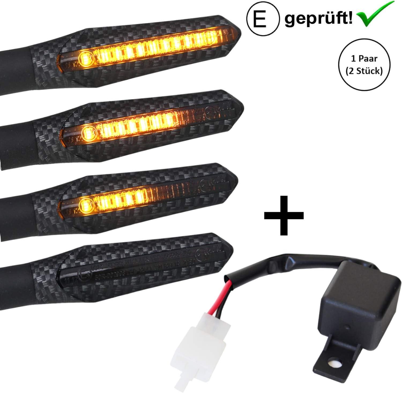 ECE E-Gepr/üft Carbon+ Relais inkl Relais oder Widerst/ände Universal Motorrad Motorroller LED Blinker Lauflicht Laufeffekt V5