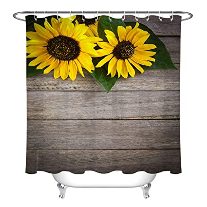 LB Country Sunflower Rustic Wood Panel Floral Shower Curtain for Bathroom,  Primitive Vintage Flower Bathroom Decor, Water Proof Fabric Curtain, 70 x
