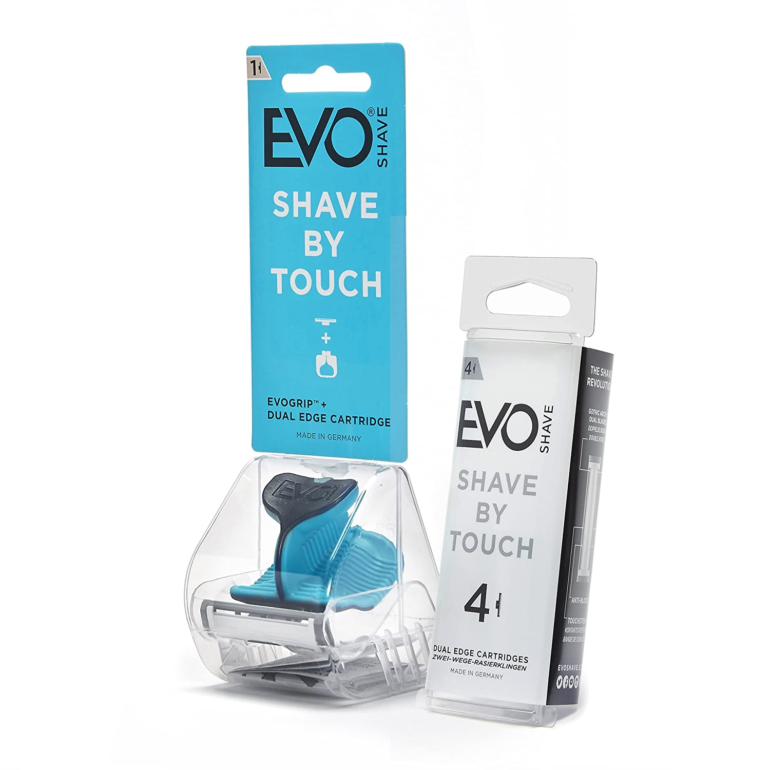 Evoshave Multi Starter Pack Plus Cartridge Refills, Aqua Blue, Pack of 4 EVOSP101CP1001