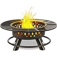 Blumfeldt Rosario • Brasero 3 en 1 • Barbecue • Table • Foyer Ø 120 cm • Grille de Cuisson: 70 cm • Pare-étincelles • Finition Solide en INOX avec Grille chromée • Peinture résistante à la Chaleur